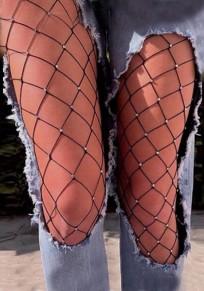 Mosaïque strass scintillant découpess haut clubwear fishnets chaussettes noir