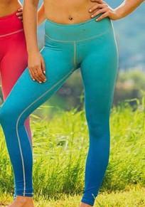 Blaue Farbverlauf High Waisted Fitness Stretch Yoga Schlank Push Up Leggings Günstig Damen