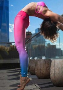 Legging gradiente de color flaco cintura alta deportes yoga entrenamiento largo rojo