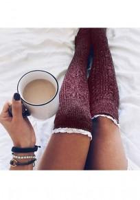 WeinRot Flickwerk Spitze elastische Taille Mode Overknee Leggings