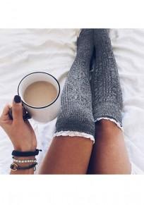 Graue Flickwerk Spitze elastische Taille Mode Overknee Leggings