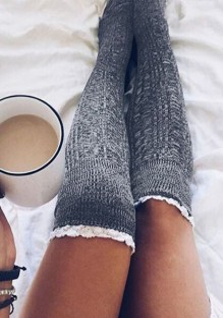 Leggings pizzi elastico moda overknee grigio