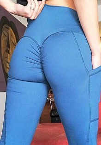 Legging bolsillos plisados de talle alto deportes yoga entrenamiento largo azul