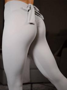 Hellgrau Schleife Gefaltet Elastische Taille Skinny Mode Lange Yoga Push Up Leggings Damen