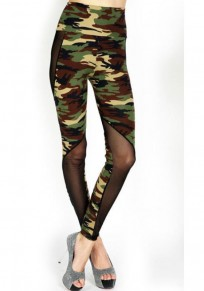 Braun Camouflage Mesh Hohe Taille Sport Yoga Push Up Leggings Damen