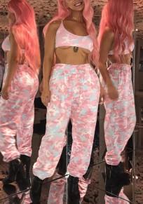 Rosa Camouflage Blumen Taschen Elastische Taille High Waisted Oversize Sport Work Out Lange Hosen Damen