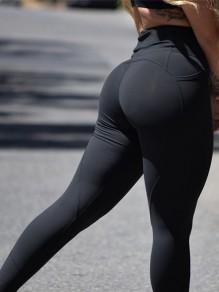 Schwarz Taschen High Waisted Fitness Yoga Schlank Push Up Training Leggings Damen Mode