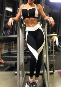 Schwarz Weiß Splicing Hohe Taille Stretch Schlank Sport Yoga Push Up Leggings Damen