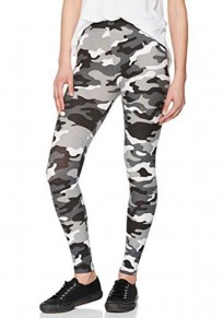 Schwarz-Weiß Camouflage Print High Waist Stretch Yoga Sock Beiläufige Sports Tights Leggings Damen Günstig