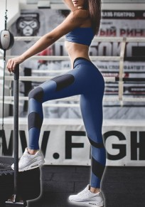 Blau Splicing Schlank Hohe Taille Fitness Yoga Sports Tights Damen Leggings Mode