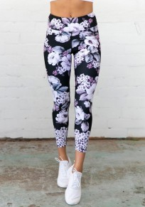 Schwarz Blumenprint Schlank Hohe Taille Beiläufige Sports Nine's Leggings Damen Mode