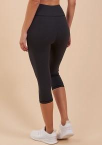 Schwarz Hohe Taille Push Up Schlank Yoga Lange Fitness Seven's Leggings Damen Jogginghose