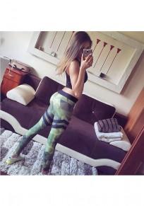 Green Geometric Drucken elastische Taille beiläufige lange Leggings