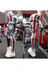 White Skull Print Elastic Waist Sports Long Leggings