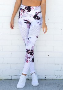 White Floral Grenadine Elastic Waist Sports Long Leggings