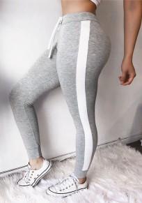 Grau Kordelzug Hohe Taille Push Up Schlank Fitness Lange Leggings Damen Jogginghose Günstig