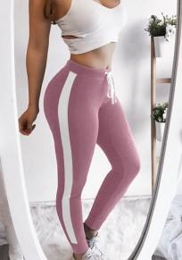 Leggings imprimé cordon de serrage à la taille sport longue rose