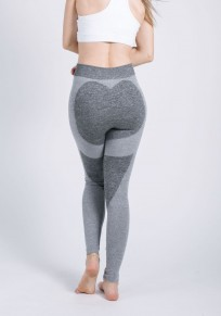 Leggings coeur forme push up taille haute fitness yoga mode gris clair femme