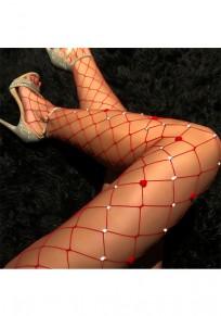 Rot Flickwerk ausgeschnitten Strass Mode lange Leggings