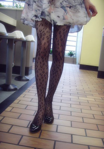 Schwarzer Blumendruck Granatapfellikör elastische Taille Mode lange Leggings