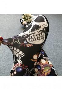 Lila Skull Drucken elastische Taille beiläufige lange Leggings