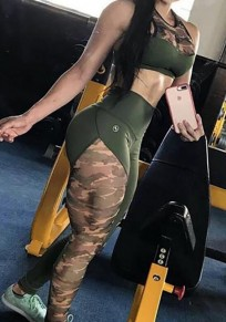 Army Green Camouflage Print Camo High Waisted Booty Sports Yoga Long Legging