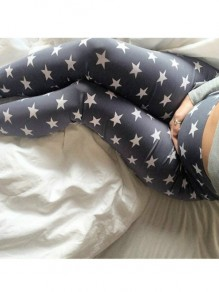 Grey Stars Print High Waisted Sports Yoga Maternity Long Legging