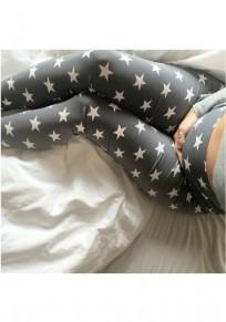 Legging estrellas impresión de cintura alta deportes yoga maternidad larga gris