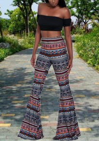 Blue Tribal Print Elastic Waist High Waisted Bell Bottoms Bohemian Flare Long Legging
