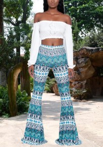 Spearmint Tribal Print Elastic Waist High Waisted Bell Bottoms Bohemian Flare Long Legging
