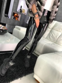 Leggings chiusura lampo A vita alta moda pu latex bodycon party lunga nera