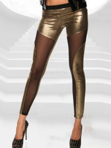 Goldene Mesh Hohe Taille Skinny Push Up Mode Lange Leggings Glitzer Günstig Damen