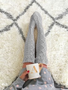 Grey Plain Honey Girl Going out Cute Long Legging