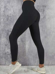 Schwarz Plissee Hohe Taille Fitness Yoga Schlank Push Up Lange Leggings Günstig Damen Mode