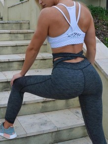 Graue Cut Out Hohe Taille Fitness Yoga Schlank Push Up Skinny Lange Leggings Damen Mode