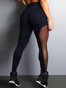Black Patchwork Grenadine High Waisted Casual Sports Long Legging