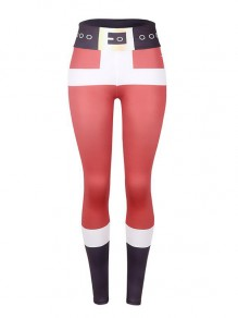 Red-Black Patchwork High Waisted Yoga Christmas Sports Santa Workout Legging
