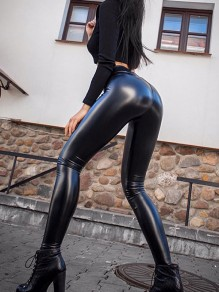 Schwarz Latex PU-Leder Push Up Hohe Taille Bodycon Lange Leggings Damen Mode