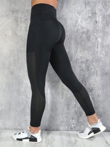Schwarz Cut Out High Waisted Fitness Yoga Schlank Push Up Lange Leggings Günstig Damen Mode
