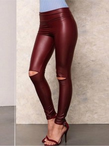 Weinrotes Cut Out Hohe Taille Mode Skinny PU-Leder Latex Lang Wetlook Leggings Damen Hose