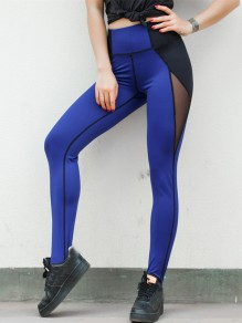 Blue Patchwork Grenadine High Waisted Fashion Long Leggings