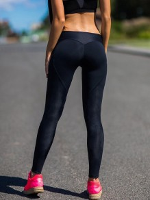 Schwarz Herz Hohe Taille Schlank Lange Skinny Push Up Fitness Leggings Yoga Hosen Damen Mode