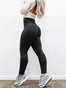 Schwarz Gefaltete Hohe Taillierte Skinny Yoga Push Up Lange Leggings Damen Mode