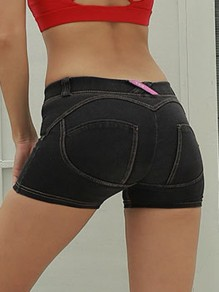 Black Push Up High Waisted Sports Workout Skinny Short Denim Legging