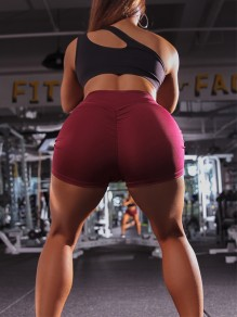 Burgundy High Waisted Sports Workout Skinny Push Up Short Legging