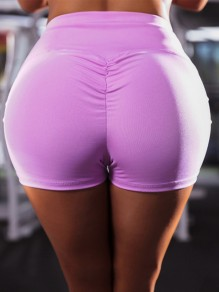 Light Purple High Waisted Sports Workout Skinny Push Up Short Legging