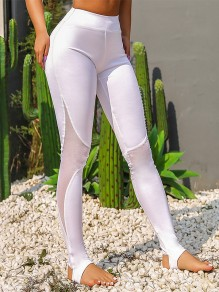 Weiß Splicing Grenadine Hohe Taille Mesh Skinny Schlank Schritt Auf Fuß Yoga Push Up Fitness Leggings Damen Mode