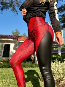 Rot Schwarz Patchwork Schlange Hohe Taille Schlank Lange Latex Pu Push Up Leggings Yoga Hosen Damen