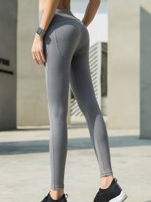 Leggings push up slim fitness mode décontracté yoga femme gris