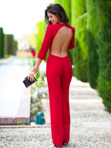 Red Plain Cut Out Perforate Nightclub Backless Bandage Bodycon 3/4 Sleeve Sexy Long Jumpsuit